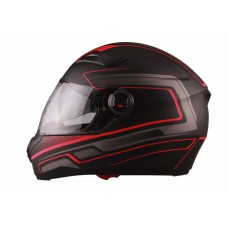 VITO Helmet FALCONE FULL FACE + Sun visor matte - Black / Red, L