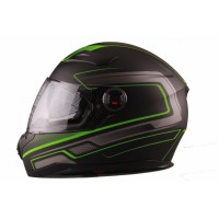 VITO Helmet FALCONE FULL FACE + Sun visor matte - Black / Green, L