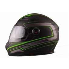 VITO Helmet FALCONE FULL FACE + Sun visor matte - Black / Green, L